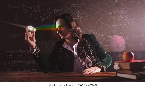 History of science, concept. Isaac Newton and physics. The science of light, optics. Light refraction and scientific research in physics.