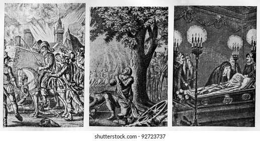 """History of the Thirty Years War, prints of drawings Hodovetskiy, late 19th century -  Johann Christoph Friedrich von Schiller """"Historical works"""", Volume 7, published """"Academia"""", USSR, 1937"""