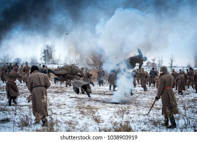 History of Ukraine. War in Ukraine. Soldiers flee to the defense. Battlefield. Explosion. Soldiers in the smoke. War for Ukraine.