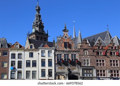 Histrorical houses and the tower of the Stevenskerk church in Nijmegen, Holland