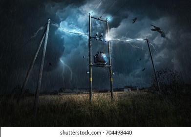 The hit of lightning in the power transmission system during a severe thunderstorm causes other forces to live. Title - Lord of storm