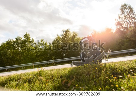 Hitchhikers By Side Of Road >> Hitchhikers Bag Standing Ready Side Road Stock Photo Edit Now