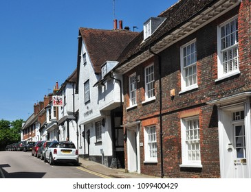 HITCHIN, HERTFORDSHIRE/UK - May 17, 2018. Old Town Buildings - Tilehouse Street, Hitchin, Hertfordshire, England