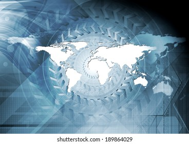 Hi-tech abstract blue design with world map