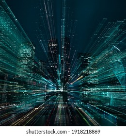 Hi-tech abstract green background. Cityscape of skyscrapers of Moscow City Zooming. . High quality photo