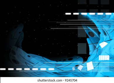 Hi-tech abstract illustration, sci-fi space.