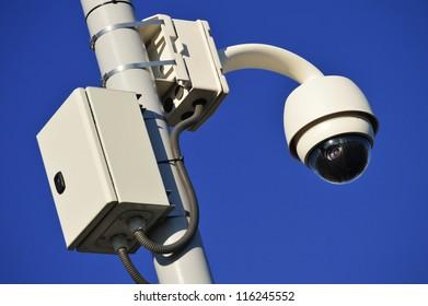 Hi-tech dome type camera over the blue sky