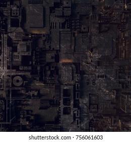 Hi-tech futuristic geometric pattern. Abstract 3d illustration