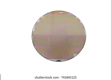 hi-tech industry: a silicon wafers with white background. reflecting different colors or colorful glowing light.