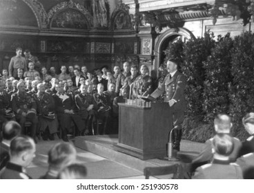 Hitler speaking in Danzig after the German invasion of Poland. He spoke to the German nation and the World from the main hall of the ancient Artus Court. World War 2. Sept. 19, 1939.