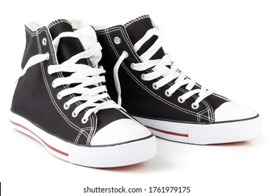 Hi-Top Black Sneakers on white. This file is cleaned, retouched and contains clipping path.