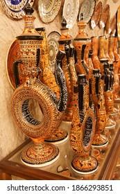 Hittite wine vessels on display in a pottery factory in  Avanos in Cappadocia,  Turkey