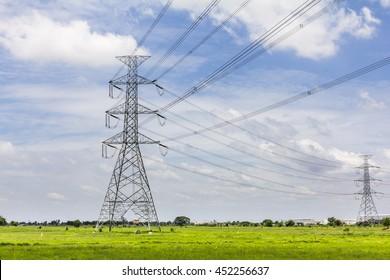 Hi-voltage electrical pylons against blue sky
