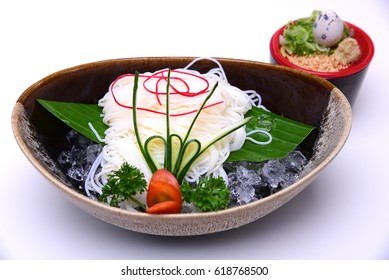 Hiyashi Somen , Japanese chilled noodles served with dipping sauce , isolated on white background (with Clipping Path)