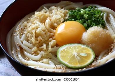 Hiyashi Tanuki Udon-cold udon noodles,Japanese cuisine