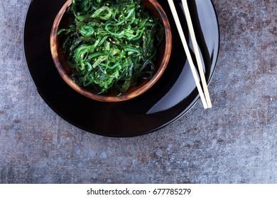 Hiyashi Wakame Chuka or seaweed salad on table, Japanese food