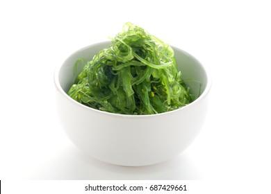Hiyashi Wakame Chuka or seaweed salad, Japanese food , on white background