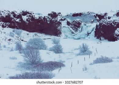 Hjalparfoss frozen in the winter
