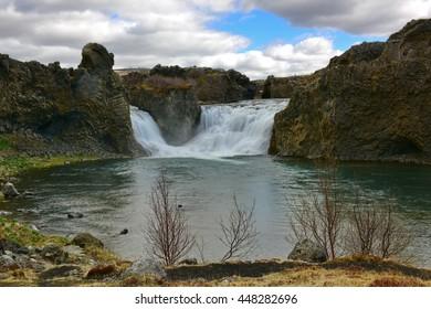 Hjalparfoss, a waterfall in the lava fields north of Hekla, Iceland