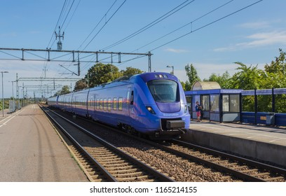 HJARUP, SWEDEN - AUGUST 22, 2018: A local train makes a stop during its tour to Copenhagen Denmark