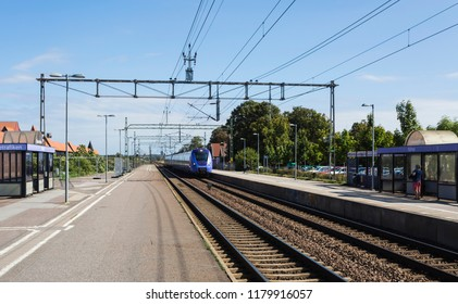 HJARUP, SWEDEN - AUGUST 22, 2018: A local train makes a entry at the local station at Jakriborg, Hjarup on its tour to Copenhagen Denmark
