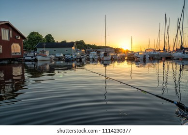 Hjo harbor in early morning time