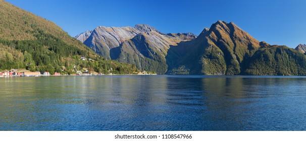 The Hjorundfjord from Saebo, More og Romsdal, Norway.