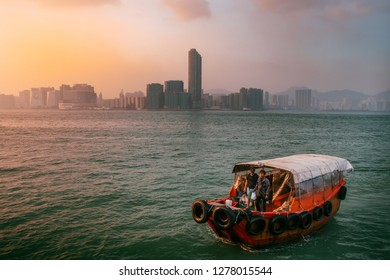 HKSAR, Hong Kong, Hong Kong Island - November 08, 2018 : Sampan Fishing boat on Victoria Harbour arriving at North Point, Hong Kong