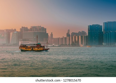 HKSAR, Hong Kong, Hong Kong Island - November 08, 2018 : Tour boat on Victoria Harbour Hong Kong