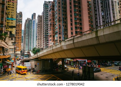 HKSAR, Hong Kong, Hong Kong Island - November 08, 2018 : Minibus moving down Tong Shui Road