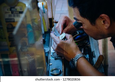 HKSAR, Hong Kong, Hong Kong Island - November 08, 2018 :  Watch repaier on King's Road at North Point, Hong Kong