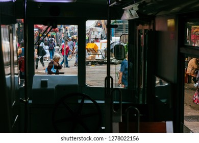 HKSAR, Hong Kong, Hong Kong Island - November 08, 2018 : Tram window at North Point Tram Terminus,