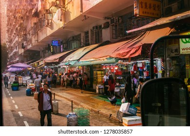 HKSAR, Hong Kong, Hong Kong Island - November 08, 2018: From a tram window, Chun Yeung Street, North Point