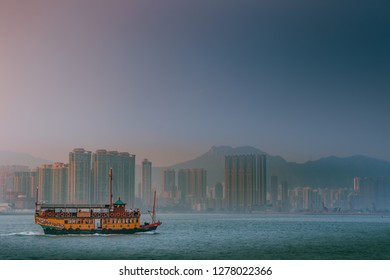HKSAR, Hong Kong, Hong Kong Island -  : Tour boat on Victoria Harbour Hong Kong