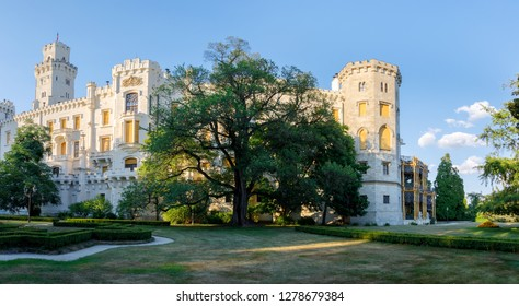 HLUBOKA NAD VLTAVOU, CZECH REPUBLIC - JULY 6, 2017: Beautiful and famous hite renaissance castle Hluboka nad Vltavou, one of most beautiful castles in the Czech Republic, July 6. 2017