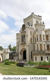 HLUBOKA NAD VLTAVOU, CZECH REPUBLIC  -  JUNE, 12 2019: Entrance to the Romanesque castle