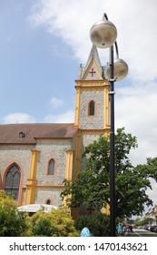 HLUBOKA NAD VLTAVOU, CZECH REPUBLIC  -  JUNE, 12 2019: A large Church covered the lantern