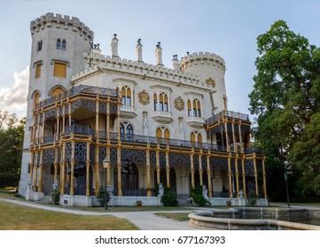 HLUBOKA NAD VLTAVOU, CZECH REPUBLIC - JULY 6, 2017: Beautiful white renaissance castle castle Hluboka nad Vltavou in Czech Republic, July 6. 2017