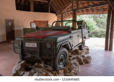 Hluhluwe, South Africa - 15 May 2019: An old landrover used to dart and capture animals in the Hluhluwe National Park, South Africa.