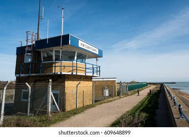 H.M. Coastguard, Thames Estuary, England. A UK coastguard lookout post on the northern banks of the Thames Estuary in Essex, England.