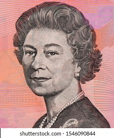 H.M. Queen Elizabeth II, Portrait from Australia 5 Dollars 1995-1998 polymer Banknotes.