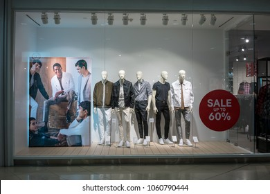 H&M shop at Mega Bangna, Bangkok, Thailand, Mar 19, 2018 : Luxury and fashionable brand window display. Summer collection of casual wear display at flagship store.  Wide screen capture.