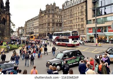 H&M store on Princes street in Edinburgh city centre, main shopping precinct and landmark street.  Edinburgh city centre. Scotland UK. August  2018