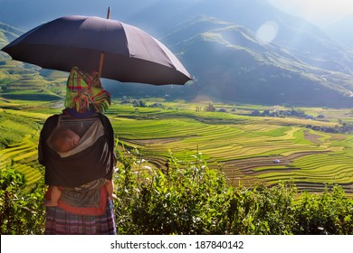 The hmong with child on back and umbrella over is viewing the terraces