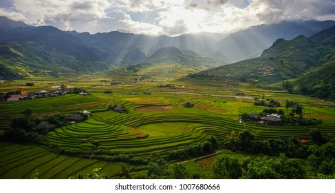 Hmong village with terraced rice field at sunny day in Northern Vietnam.