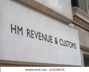 HMRC (Her Majesty Revenue and Customs) sign in London, UK