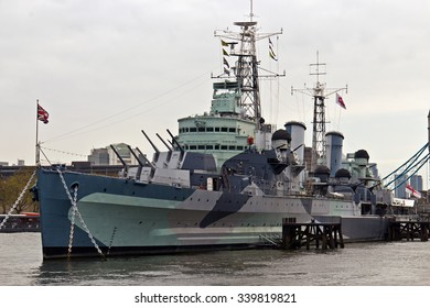HMS Belfast a Royal Navy light cruiser on the River Thames in London, England