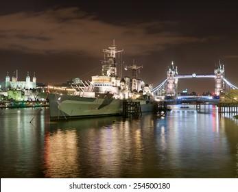 HMS Belfast and Tower Bridge