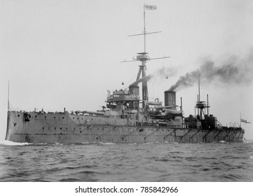 HMS Dreadnought, British battleship whose design revolutionized naval power, 1906. She had a turreted main battery of big guns, was powered by steam turbines, had heavy armor protecting the central tu