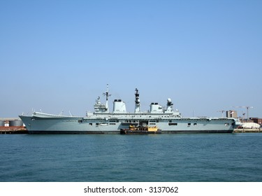 HMS Illustrious (R06), an Invincible class aircraft carrier in Portsmouth harbour